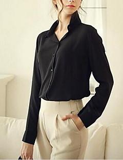 Chemise Femme,Couleur Pleine Décontracté / Quotidien simple Eté Manches Longues Col en V Bleu Rouge Blanc Noir Jaune Polyester Moyen