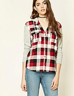 Feminino Camiseta Casual Simples Primavera Outono,Estampado Vermelho Cinza Algodão Com Capuz Manga Longa Média