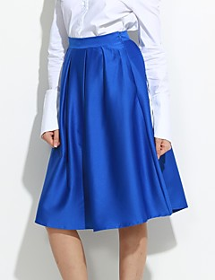 Women's Solid Blue / Black / Green SkirtsCute Midi