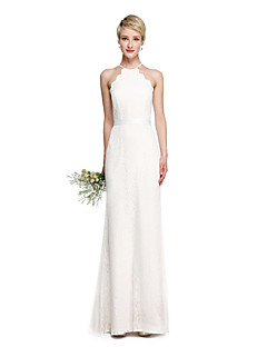 Sheath / Column Halter Floor Length Lace Bridesmaid Dress with Sash / Ribbon by LAN TING BRIDE®