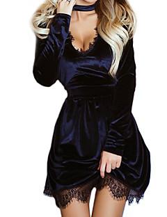 Dámské Sexy Party/Koktejl Klub Pouzdro Šaty Jednobarevné,Dlouhý rukáv Tričkový Mini Modrá Černá Fialová Bavlna Polyester Jaro PodzimMid