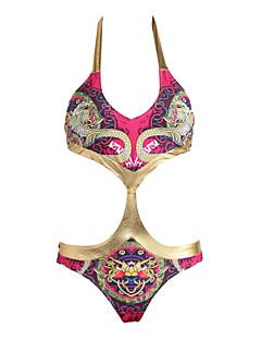 Women's National Style Floral Push-up Multi-color Brazelle Jumpsuit Halter Bikinis