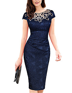 Women's Plus Size / Party/Cocktail / Club Vintage / Simple Slim Sheath DressFloral / Patchwork / Embroidered Round Neck Knee-length