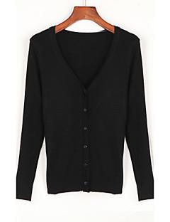 Damer Simpel I-byen-tøj Cardigan Ensfarvet,V-hals Langærmet Bomuld Sommer Efterår Medium