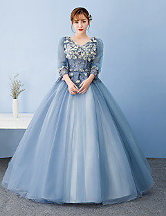 Formal Evening Dress - Floral Ball Gown V-neck Floor-length Tulle with Appliques Lace