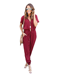 Women's Loose Slim Harem Jumpsuits,Going out Casual/Daily Beach Sexy Vintage Simple Solid V Neck Short Sleeve High Rise Cotton Linen