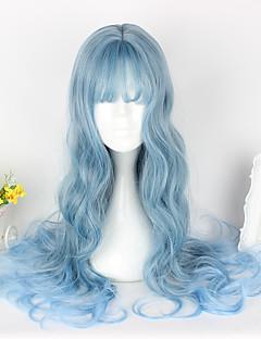 甘ロリータ ロリータ カール ブルー ロリータウィッグ 65cm CM コスプレウィッグ かつら のために 女性