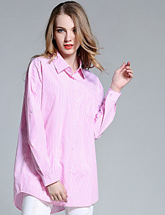 Women's Fine Stripe Going out Casual/Daily Holiday Simple Cute Spring Summer Shirt,Striped Shirt Collar Long Sleeve Blue Pink White Cotton