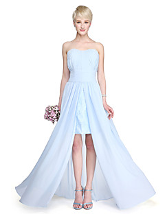 2017 Lanting Bride® Floor-length Chiffon Furcal Bridesmaid Dress - Sheath / Column Strapless with Draping Split Front Ruching
