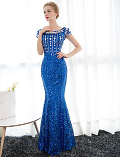 Formal Evening Dress Trumpet / Mermaid Scoop Floor-length Satin / Sequined with Crystal Detailing