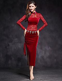 Dança do Ventre Vestidos Mulheres Actuação Renda Veludo Recortes 1 Peça Manga Comprida Natural VestidosSuitable Weight