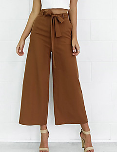 Women's Wide Leg Wide Leg Chinos Ninth PantsGoing out / Casual/Daily Simple / Street chic Sweet Banage Solid Mid Rise Elasticity Micro-elastic