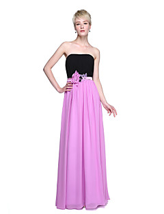 2017 Lanting Bride® Floor-length Chiffon Color Block Bridesmaid Dress - Sheath / Column Strapless with Beading Sash / Ribbon Flower(s) Draping
