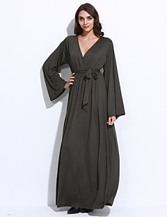 Women's Plus Size / Casual/Daily Simple / Street chic Ruched Bow Sheath DressSolid V Neck Maxi Long Sleeve