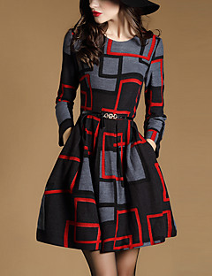 Women's Going out Street chic A Line Dress,Geometric Round Neck Above Knee Long Sleeve Black Polyester Spring / Fall Mid Rise