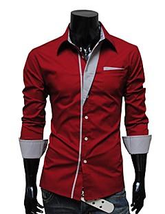 Bomull Langermet Skjorte Ensfarget Stripet Fritid/hverdag Herre
