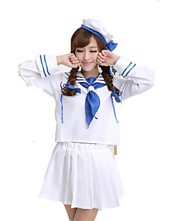 Cosplay Costumes Party Costume Career Costumes Sailor/Navy Festival/Holiday Halloween Costumes White Blue Solid Top Skirt CravatHalloween