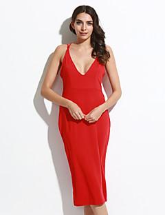 כל העונות פוליאסטר / ספנדקס אדום / לבן / שחור ללא שרוולים עד הברך כתפיה אחיד סקסי יום יומי\קז'ואל שמלה צינור נשים