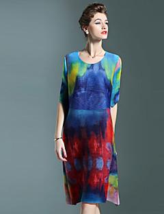 여성 칼집 드레스 캐쥬얼/데일리 빈티지 컬러 블럭,라운드 넥 무릎 위 ½ 길이 소매 블루 그린 폴리에스테르 가을 중간 밑위 스트레치 중간