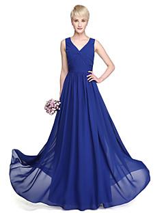 Lanting Bride® עד הריצפה ג'ורג'ט שמלה לשושבינה - גזרת A צווארון וי פלאס סייז (מידה גדולה) / פטיט עם בד בהצלבה / בד נשפך בצד