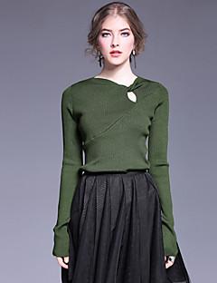 Dame Simpel Casual/hverdag Normal Pullover Ensfarvet,Sort / Brun / Grøn V-hals Langærmet Rayon / Polyester / Nylon Efterår Medium