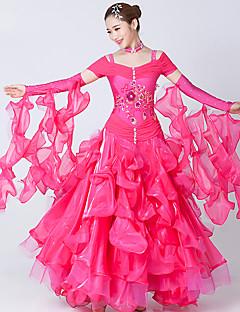 Dança de Salão Vestidos Mulheres Actuação Elastano Tule Bordado Recortes 2 Peças Manga Curta Vestido Neckwear