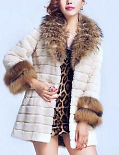 Feminino Casaco de Pêlo Para Noite Sensual Inverno, Sólido Branco Preto Pêlo Sintético Decote V-Manga Longa Grossa