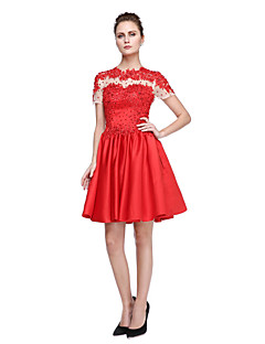 Cocktail Party Dress Ball Gown Jewel Short / Mini Satin with Appliques / Beading