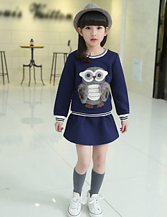 Girl's Casual/Daily Print Dress / Clothing SetCotton Spring / Fall Blue / Orange / Pink / Red