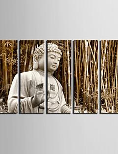 venytetty kankaalle taiteen maisema Buddha bambu metsässä joukko 5