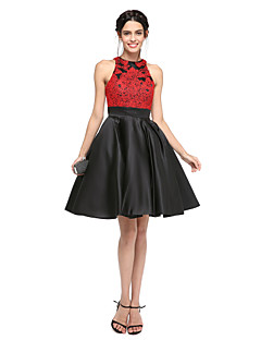 TS Couture Prom Company Party Dress - Beautiful Back Ball Gown Jewel Knee-length Lace Satin with Appliques Sash / Ribbon Pleats