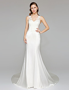 2017 Lanting Bride® Trumpet / Mermaid Wedding Dress - Chic & Modern See-Through Wedding Dresses Chapel Train Straps Stretch Satin with