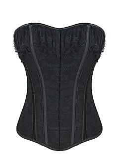 Damen Unterbrustkorsett Nachtwäsche,Sexy Push-Up Jacquard-Polyester Mittelmäßig Schwarz Damen