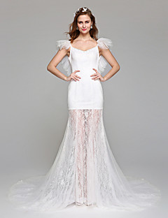 2017 Lanting Bride® A-line Wedding Dress Simply Sublime Floor-length Off-the-shoulder Lace Tulle