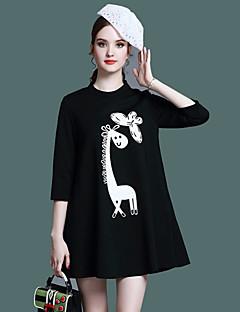 Damen A-Linie Kleid-Lässig/Alltäglich Einfach Tierfell-Druck Stickerei Ständer Übers Knie ¾-Arm Schwarz Polyester Sommer Mittlere Hüfthöhe