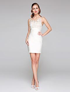 Lanting Bride® Tubinho Vestido de Noiva - Chique e Moderno Vestidos Brancos Justos Transparências Curto / Mini Decorado com Bijuteria