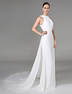 2017 Lanting Bride® Sheath / Column Wedding Dress - Elegant & Luxurious Two-Piece Wedding Dresses Chapel Train High Neck Chiffon withBeading /