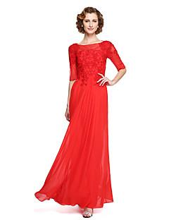 LAN TING BRIDE גזרת A שמלה לאם הכלה - אלגנטי באורך הקרסול חצי שרוול שיפון - אפליקציות חרוזים תד נשפך
