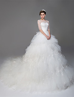 Ball Gown Illusion Neckline Kathedraal Train Tulle Trouwjurk Met Kralen Pallet Door Drrs