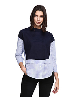 Women's Plus Size Casual/Daily Simple Shirt,Solid Striped Turtleneck Long Sleeve Blue Cotton Polyester