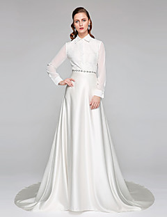 2017 Lanting Bride® A-line Wedding Dress - Chic & Modern Two-In-One Wedding Dresses Chapel Train High Neck Chiffon Lace Satin withBow Sash /