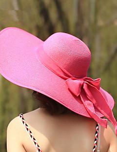 Для женщин Для женщин Очаровательный Для вечеринки На каждый день Шляпа от солнца,Соломка,Весна Лето