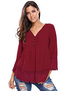 Damen Solide Sexy Klub Bluse,V-Ausschnitt Sommer Langarm Blau Rot Grau Grün Orange Polyester Elasthan Dünn