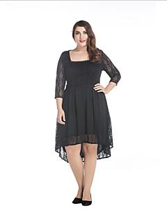 Kadın Büyük Beden Sokak Şıklığı Dantel Elbise Solid,¾ Kol Uzunluğu Kare Yaka Asimetrik Siyah Polyester Bahar Normal Bel Mikro-Esnek Orta