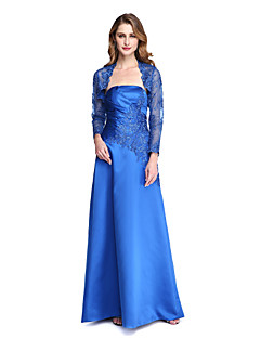 2017 Lanting Bride® A-line Mother of the Bride Dress - Wrap Included Floor-length Long Sleeve Satin with Appliques Pleats