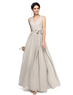 Lanting Bride® Longo Chiffon Elegante Vestido de Madrinha - Linha A Decote V com Laço(s) Faixa / Fita
