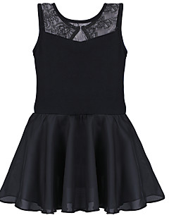 Balé Vestidos Crianças Treino Algodão Elastano Pano Renda 1 Peça Sem Mangas Vestidos