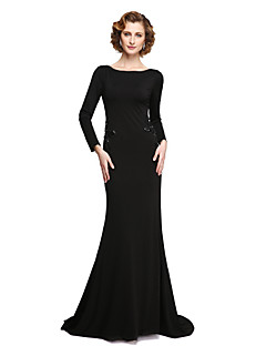LAN TING BRIDE Sheath / Column Mother of the Bride Dress - Elegant Floor-length 3/4 Length Sleeve Jersey with Appliques Beading