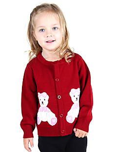 Uitgaan Casual/Dagelijks Vakantie Kleurenblok Dierenprint Geborduurd Katoen Gebreid Winter Lente Herfst Lange mouw Meisje Trui & Vest