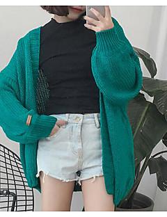 Women's Casual/Daily Vintage Regular Cardigan,Solid Beige Gray Green Round Neck Long Sleeve Cotton Spring Winter Medium Micro-elastic